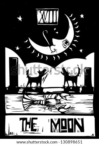 Woodcut style Tarot card for the moon - stock photo