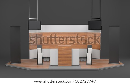 woodden booth or stall with tv displays and vertical banners. 3D rendering - stock photo