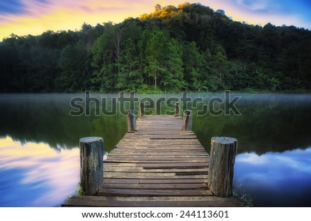 Wooded bridge over the river in Pang ung park, Mae hong son - Thailand - stock photo