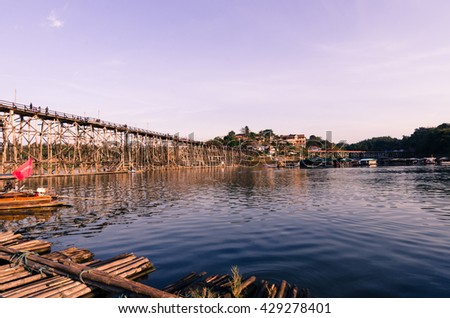 Wooded bridge over the river (Mon Bridge) in Sangkhlaburi District, Kanchanaburi, Thailand. And is a major tourist attraction