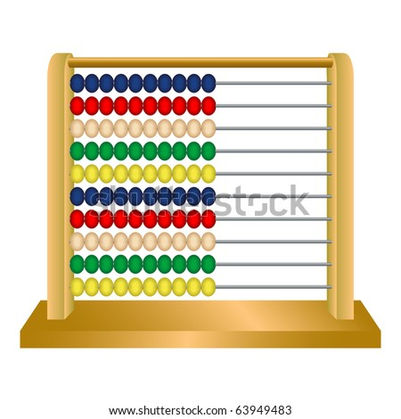 wooden abacus against white background, abstract art illustration; for vector format please visit my gallery