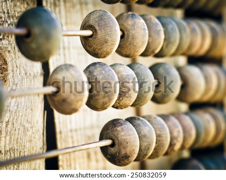 wooden abacus as a background - stock photo