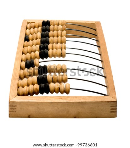 wooden abacus isolated - stock photo