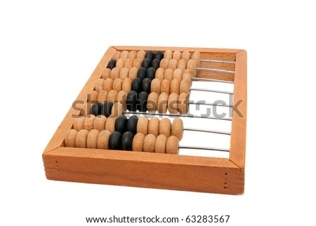wooden abacus isolated on a white background - stock photo