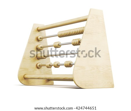 Wooden abacus isolated on a white background. 3d rendering. - stock photo