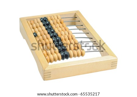 Wooden abacus. Isolated on white. - stock photo