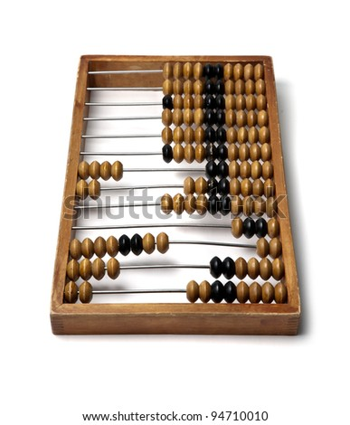 Wooden abacus isolated on white background - stock photo
