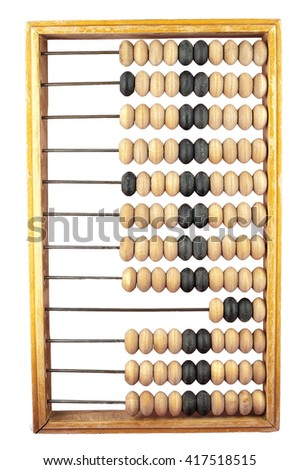 wooden abacus on a white background isolate