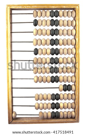 wooden abacus on a white background with the number one isolate