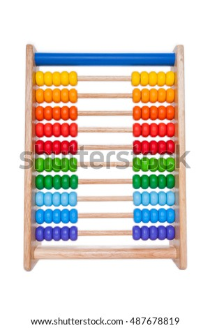 wooden abacus on white background