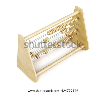 Wooden abacus top view isolated on a white background. 3d rendering. - stock photo