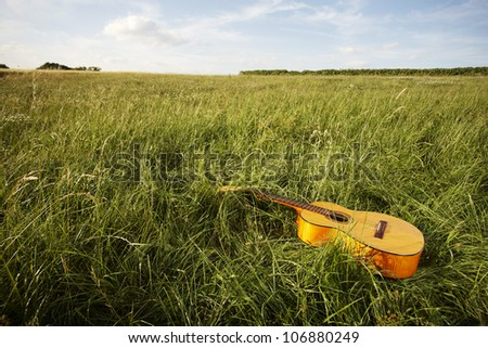Wooden acoustic guitar lying in the foreground in a green grassy field - stock photo
