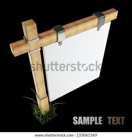 Wooden advertising billboard. Object over black background 3d render. - stock photo