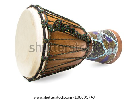Wooden african drum isolated on a white background - stock photo