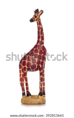 Wooden african giraffe ornament cutout - stock photo