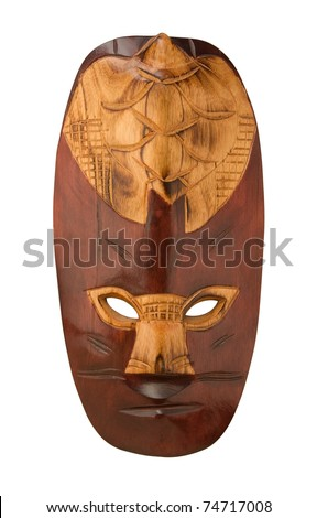 Wooden african mask isolated on white - stock photo