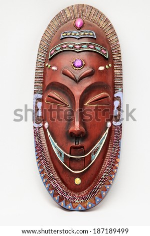 Wooden African Mask on a White Background - stock photo