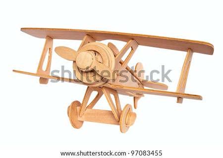 Wooden airplane model isolated over white background - stock photo