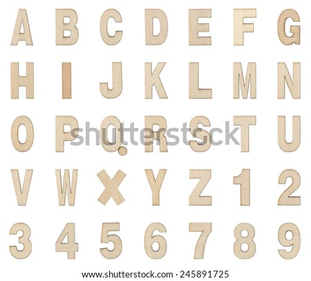 Wooden Alphabet and Numbers Collection , Clipping path , Isolated on white - stock photo