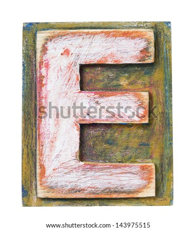 Wooden alphabet block, letter E - stock photo