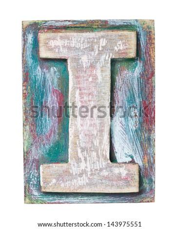 Wooden alphabet block, letter I - stock photo