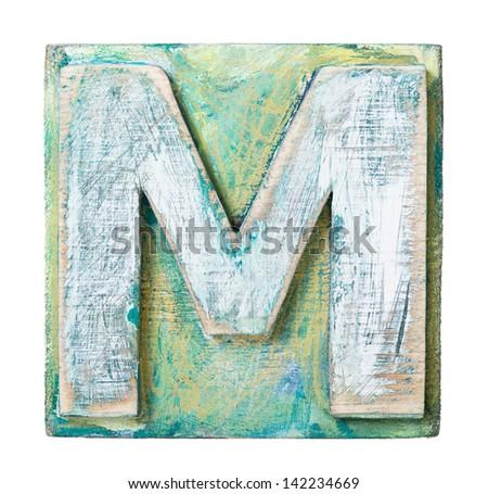 Wooden alphabet block, letter M - stock photo