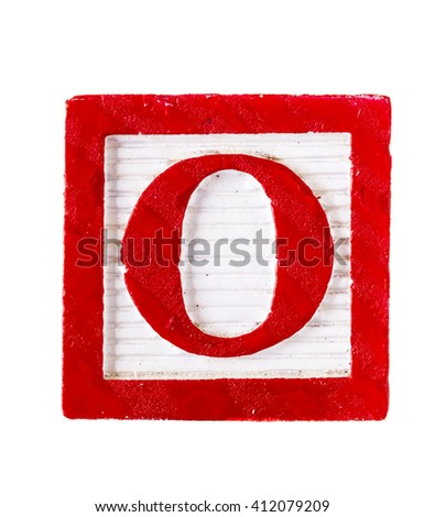 Wooden alphabet block letter O isolated on white