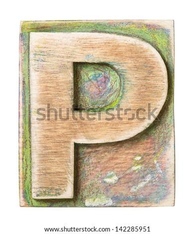 Wooden alphabet block, letter P - stock photo