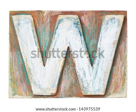 Wooden alphabet block, letter W - stock photo