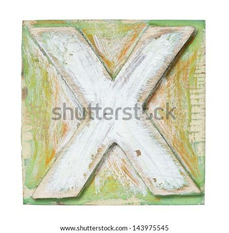 Wooden alphabet block, letter X - stock photo