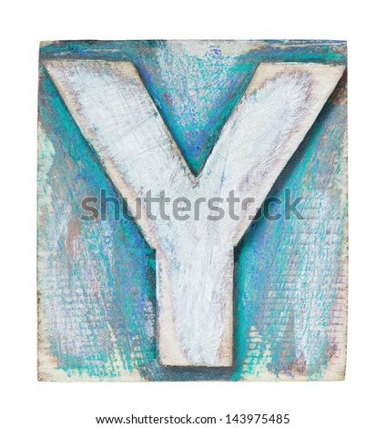 Wooden alphabet block, letter Y - stock photo