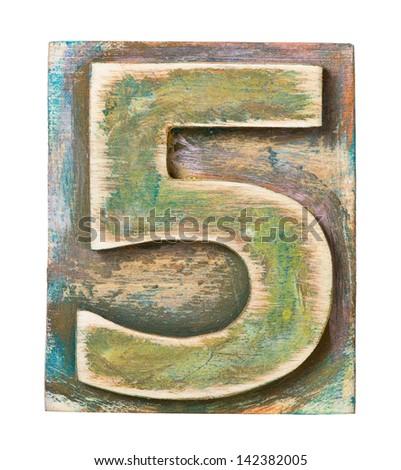 Wooden alphabet block, number 5 - stock photo