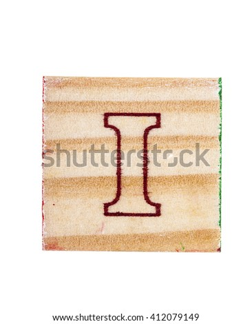 Wooden alphabet block with letter I isolated on white