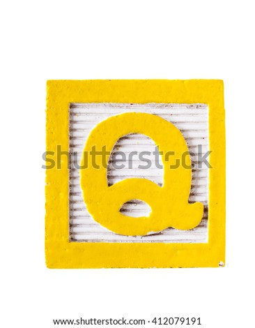 Wooden alphabet block with letter Q  isolated on white - stock photo