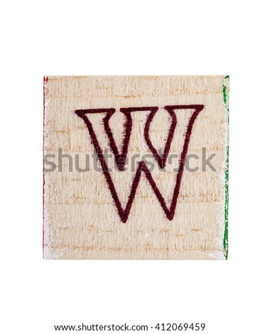 Wooden alphabet block with letter W isolated on white - stock photo