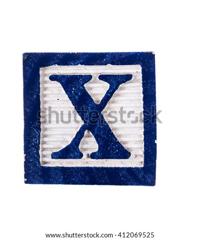Wooden  alphabet block with letter X isolated on white - stock photo