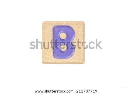 Wooden alphabet blocks,alphabet letter B - stock photo