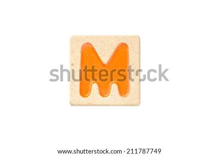 Wooden alphabet blocks,alphabet letter M - stock photo