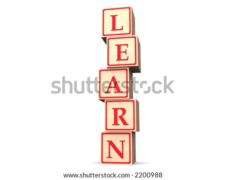 "Wooden alphabet blocks spelling word ""Learn"" standing vertically. Photorealistic 3d rendering."