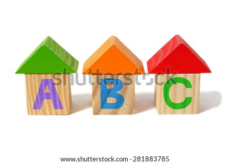 Wooden alphabet blocks with ABC letters. - stock photo