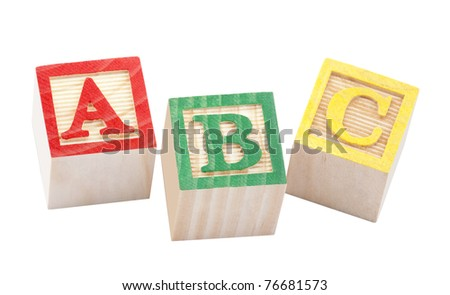 Wooden alphabet blocks with clipping path - stock photo