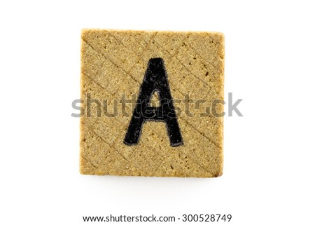 Wooden alphabet blocks with letters A (Isolated) - stock photo