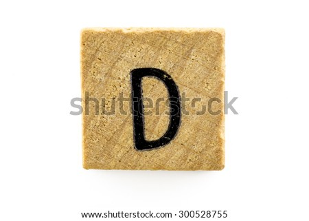 Wooden alphabet blocks with letters D (Isolated) - stock photo