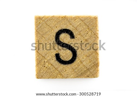 Wooden alphabet blocks with letters S (Isolated) - stock photo