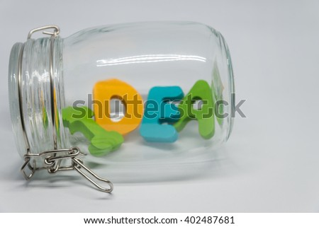 Wooden alphabet IDEA word in the glass bottle with white background in Horizontal view and selective focus - stock photo