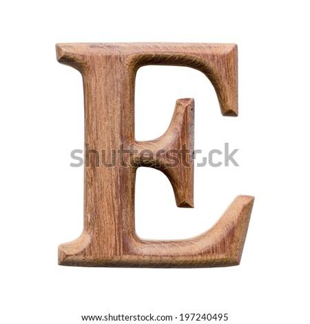 Wooden alphabet isolated on white background ,letter E - stock photo