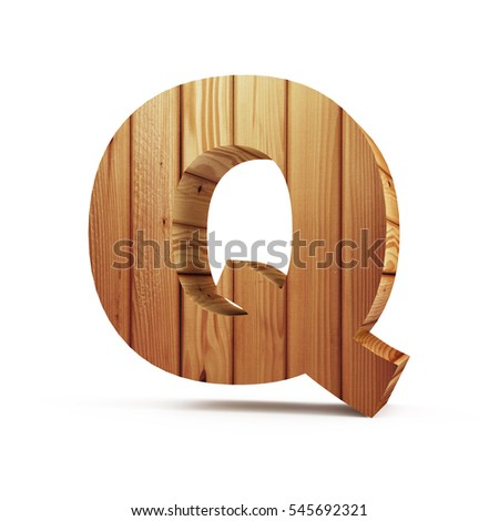 Wooden Alphabet isolated on white background (Letter Q). 3D Rendering