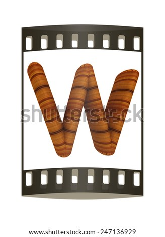 """Wooden Alphabet. Letter """"W"""" on a white background. The film strip - stock photo"""