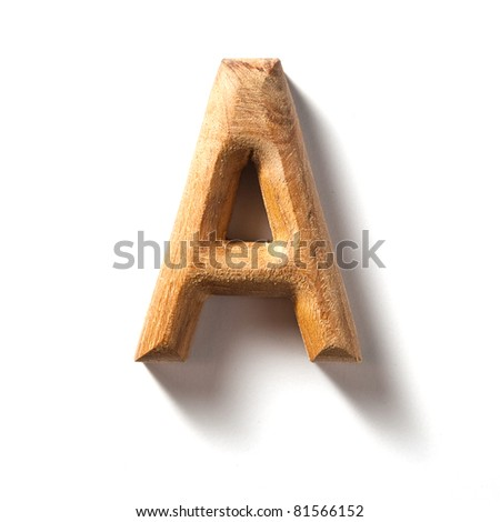 Wooden alphabet letter with drop shadow on white background, A - stock photo