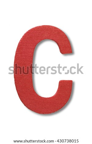 Wooden alphabet letter with drop shadow on white background, C - stock photo